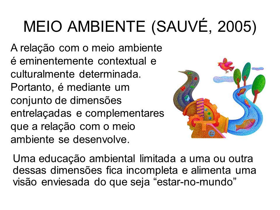 MEIO AMBIENTE (SAUVÉ, 2005) A relação com o meio ambiente é eminentemente contextual e culturalmente determinada. Portanto, é mediante um conjunto de