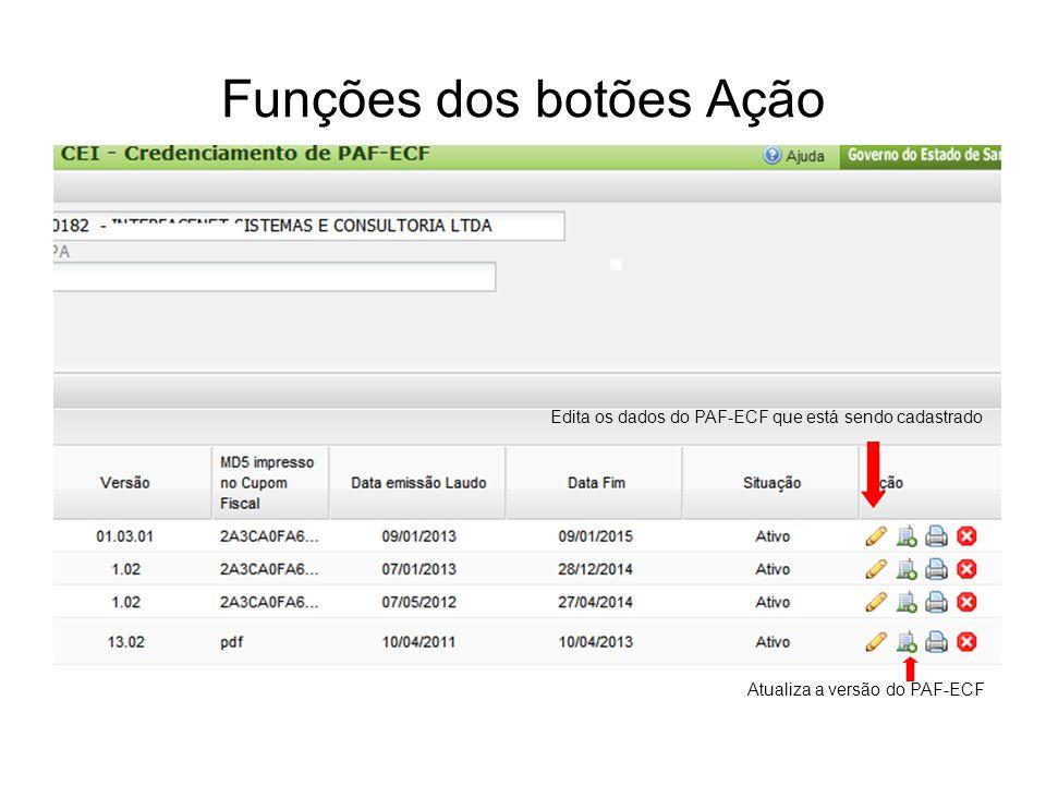 Funções dos botões Ação Edita os dados do PAF-ECF que está sendo cadastrado Atualiza a versão do PAF-ECF