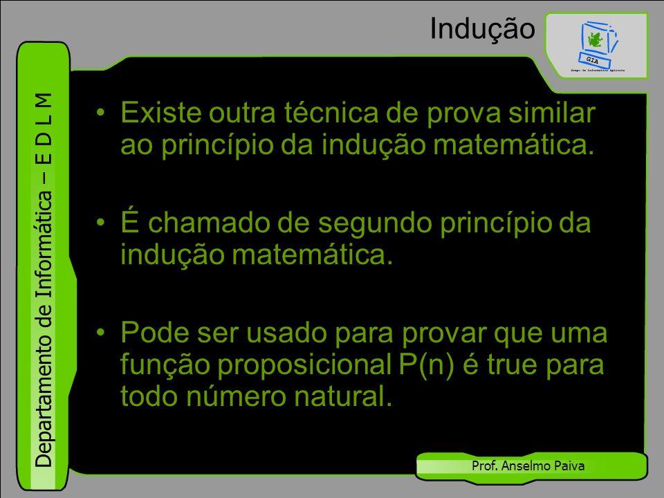 Departamento de Informática – E D L M Prof. Anselmo Paiva Indução Existe outra técnica de prova similar ao princípio da indução matemática. É chamado