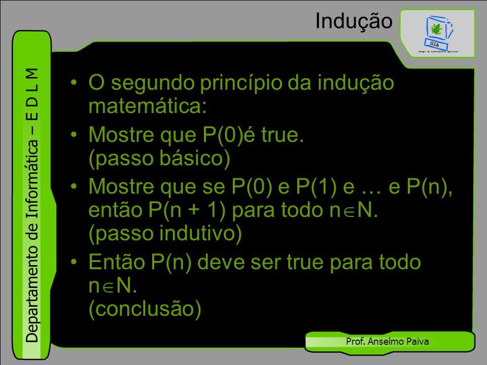 Departamento de Informática – E D L M Prof. Anselmo Paiva Indução O segundo princípio da indução matemática: Mostre que P(0)é true. (passo básico) Mos
