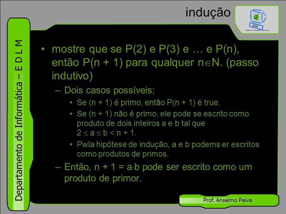 Departamento de Informática – E D L M Prof. Anselmo Paiva indução mostre que se P(2) e P(3) e … e P(n), então P(n + 1) para qualquer n  N. (passo ind