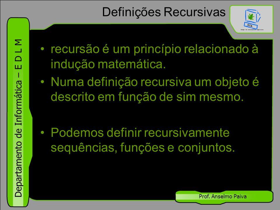Departamento de Informática – E D L M Prof. Anselmo Paiva Definições Recursivas recursão é um princípio relacionado à indução matemática. Numa definiç