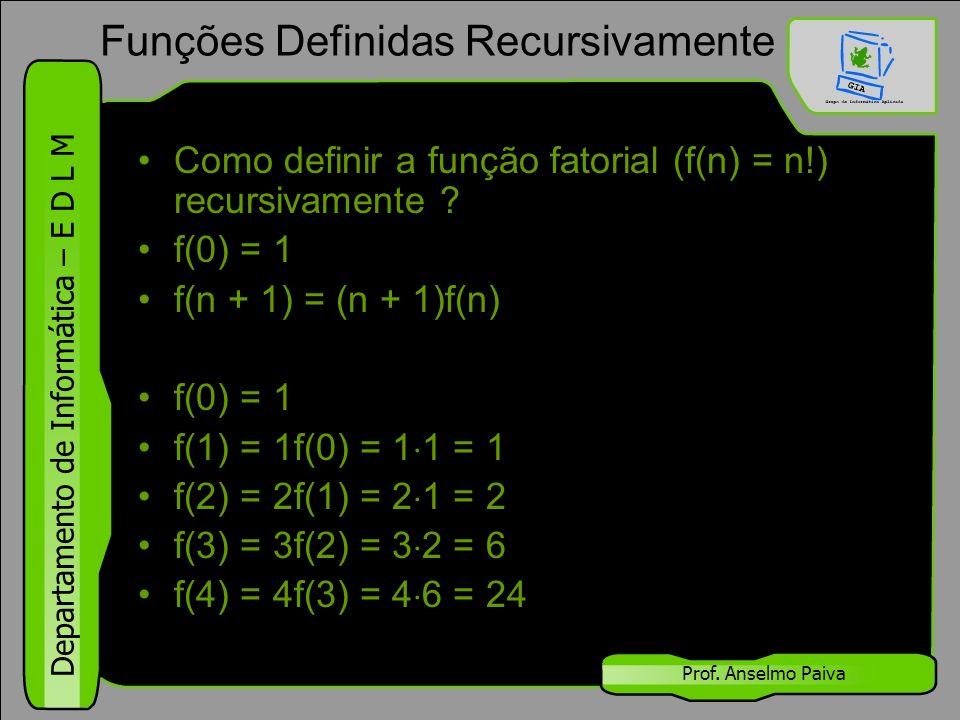 Departamento de Informática – E D L M Prof. Anselmo Paiva Como definir a função fatorial (f(n) = n!) recursivamente ? f(0) = 1 f(n + 1) = (n + 1)f(n)