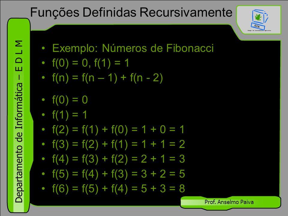 Departamento de Informática – E D L M Prof. Anselmo Paiva Exemplo: Números de Fibonacci f(0) = 0, f(1) = 1 f(n) = f(n – 1) + f(n - 2) f(0) = 0 f(1) =