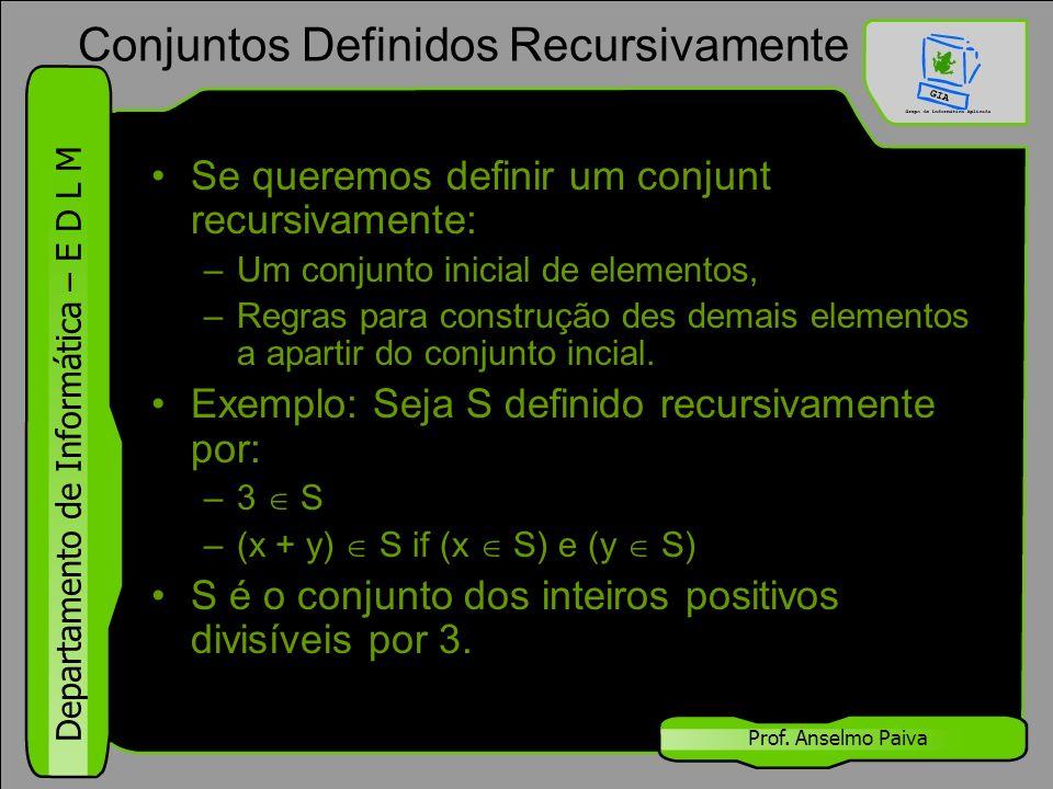 Departamento de Informática – E D L M Prof. Anselmo Paiva Se queremos definir um conjunt recursivamente: –Um conjunto inicial de elementos, –Regras pa