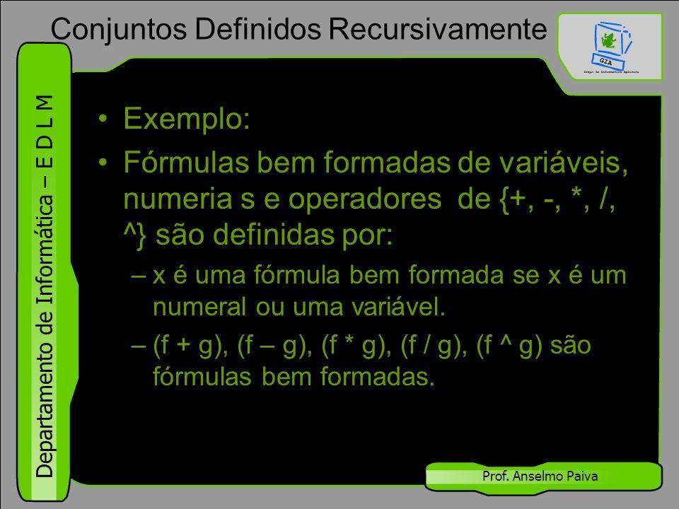 Departamento de Informática – E D L M Prof. Anselmo Paiva Exemplo: Fórmulas bem formadas de variáveis, numeria s e operadores de {+, -, *, /, ^} são d