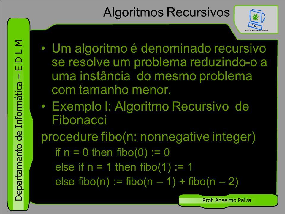 Departamento de Informática – E D L M Prof. Anselmo Paiva Algoritmos Recursivos Um algoritmo é denominado recursivo se resolve um problema reduzindo-o