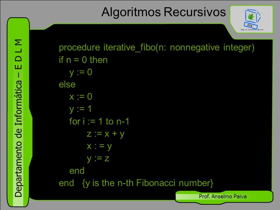 Departamento de Informática – E D L M Prof. Anselmo Paiva Algoritmos Recursivos procedure iterative_fibo(n: nonnegative integer) if n = 0 then y := 0