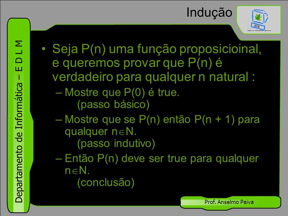 Departamento de Informática – E D L M Prof. Anselmo Paiva Indução Seja P(n) uma função proposicioinal, e queremos provar que P(n) é verdadeiro para qu