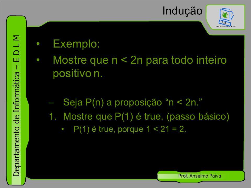 """Departamento de Informática – E D L M Prof. Anselmo Paiva Indução Exemplo: Mostre que n < 2n para todo inteiro positivo n. –Seja P(n) a proposição """"n"""