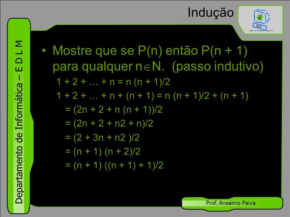 Departamento de Informática – E D L M Prof. Anselmo Paiva Indução Mostre que se P(n) então P(n + 1) para qualquer n  N. (passo indutivo) 1 + 2 + … +