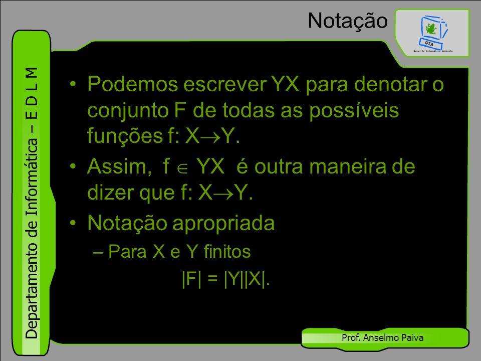 Departamento de Informática – E D L M Prof. Anselmo Paiva Notação Podemos escrever YX para denotar o conjunto F de todas as possíveis funções f: X  Y