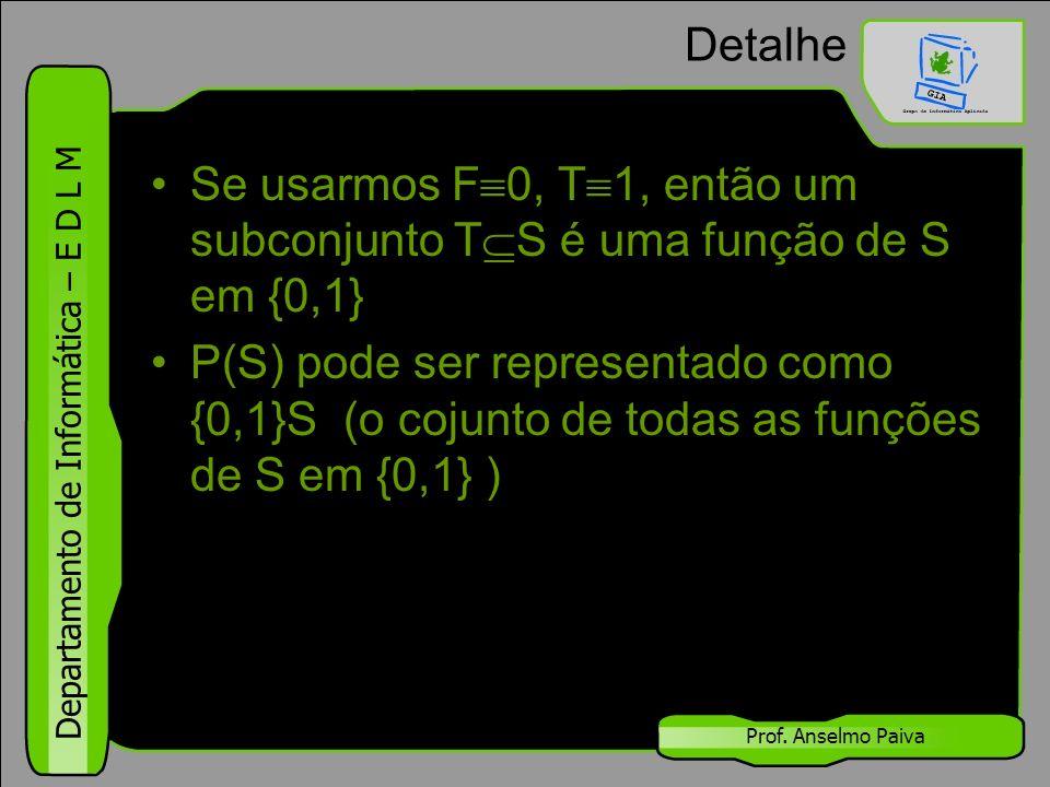 Departamento de Informática – E D L M Prof. Anselmo Paiva Detalhe Se usarmos F  0, T  1, então um subconjunto T  S é uma função de S em {0,1} P(S)