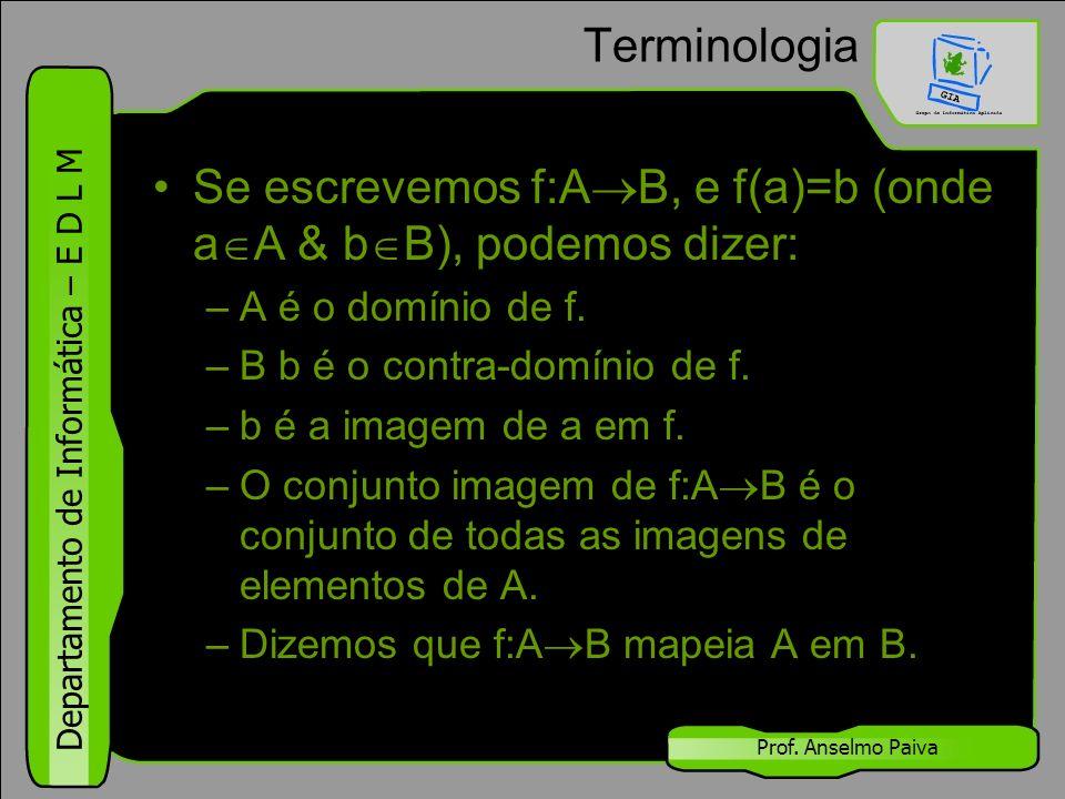 Departamento de Informática – E D L M Prof. Anselmo Paiva Terminologia Se escrevemos f:A  B, e f(a)=b (onde a  A & b  B), podemos dizer: –A é o dom