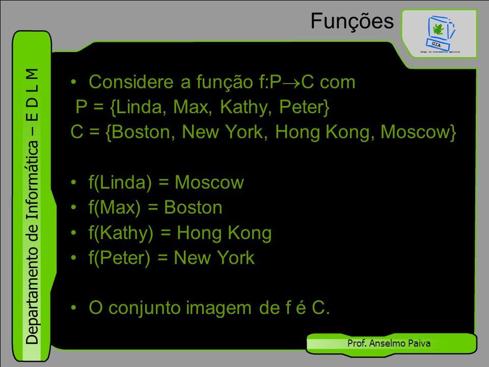 Departamento de Informática – E D L M Prof. Anselmo Paiva Funções Considere a função f:P  C com P = {Linda, Max, Kathy, Peter} C = {Boston, New York,