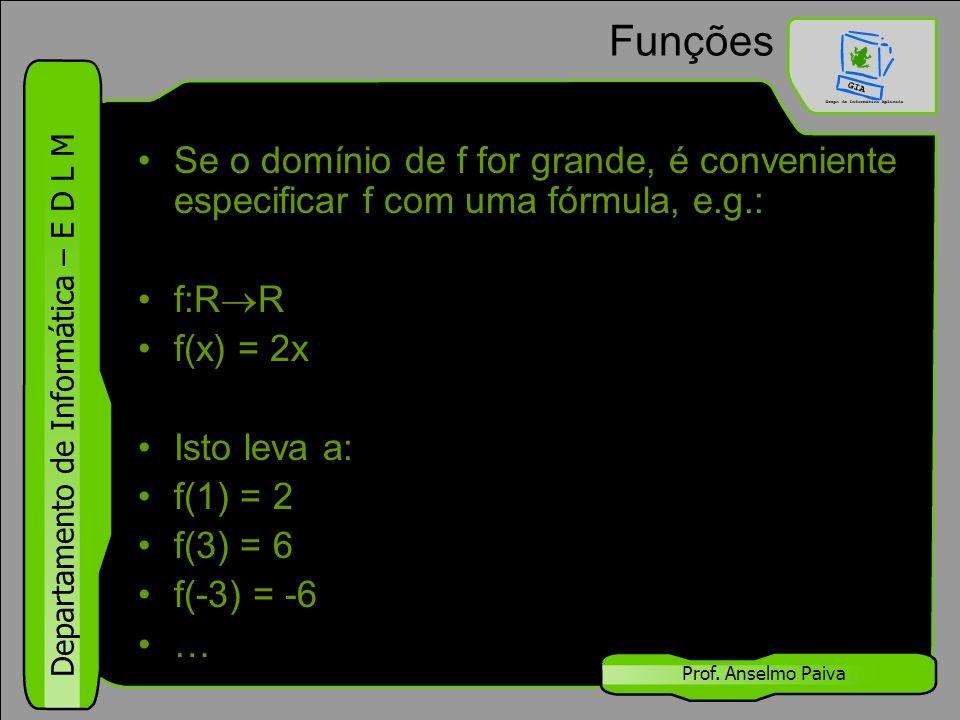 Departamento de Informática – E D L M Prof. Anselmo Paiva Funções Se o domínio de f for grande, é conveniente especificar f com uma fórmula, e.g.: f:R