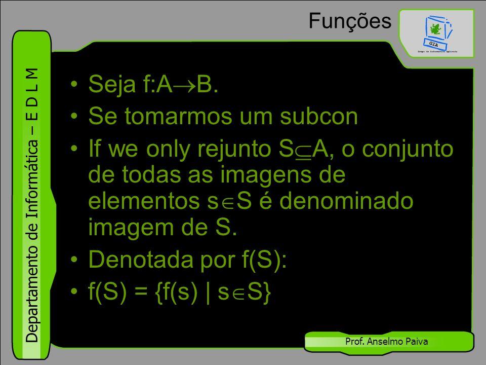 Departamento de Informática – E D L M Prof. Anselmo Paiva Funções Seja f:A  B. Se tomarmos um subcon If we only rejunto S  A, o conjunto de todas as