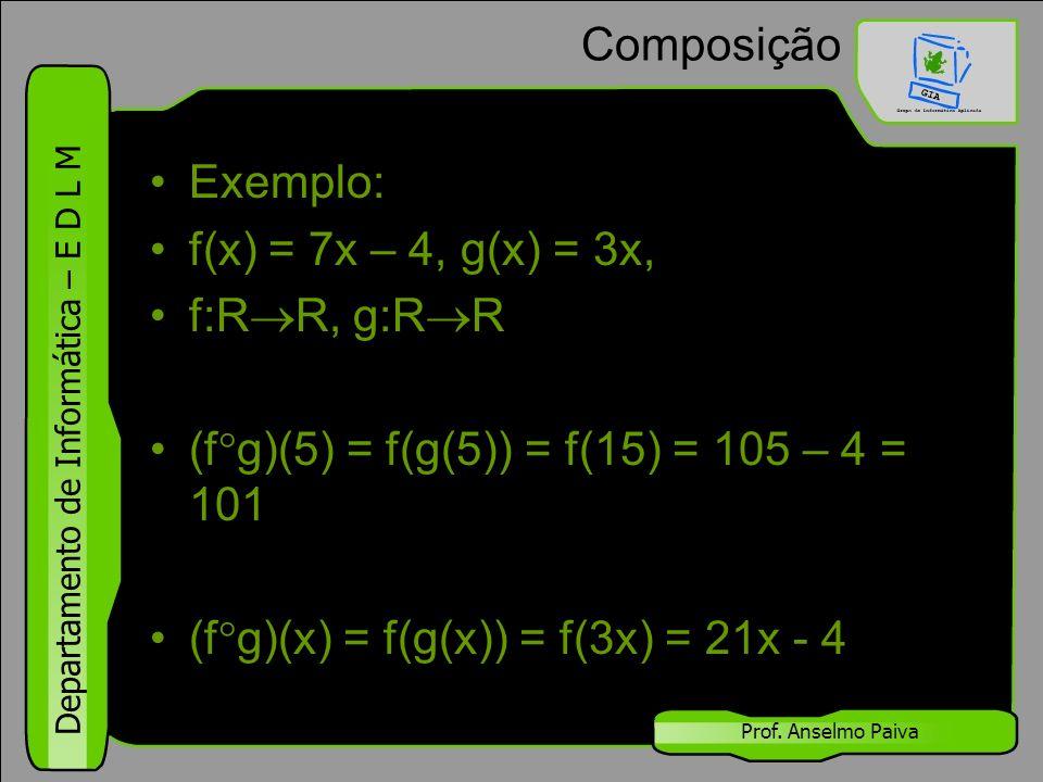 Departamento de Informática – E D L M Prof. Anselmo Paiva Composição Exemplo: f(x) = 7x – 4, g(x) = 3x, f:R  R, g:R  R (f  g)(5) = f(g(5)) = f(15)