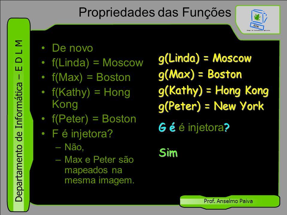 Departamento de Informática – E D L M Prof. Anselmo Paiva Propriedades das Funções De novo f(Linda) = Moscow f(Max) = Boston f(Kathy) = Hong Kong f(Pe