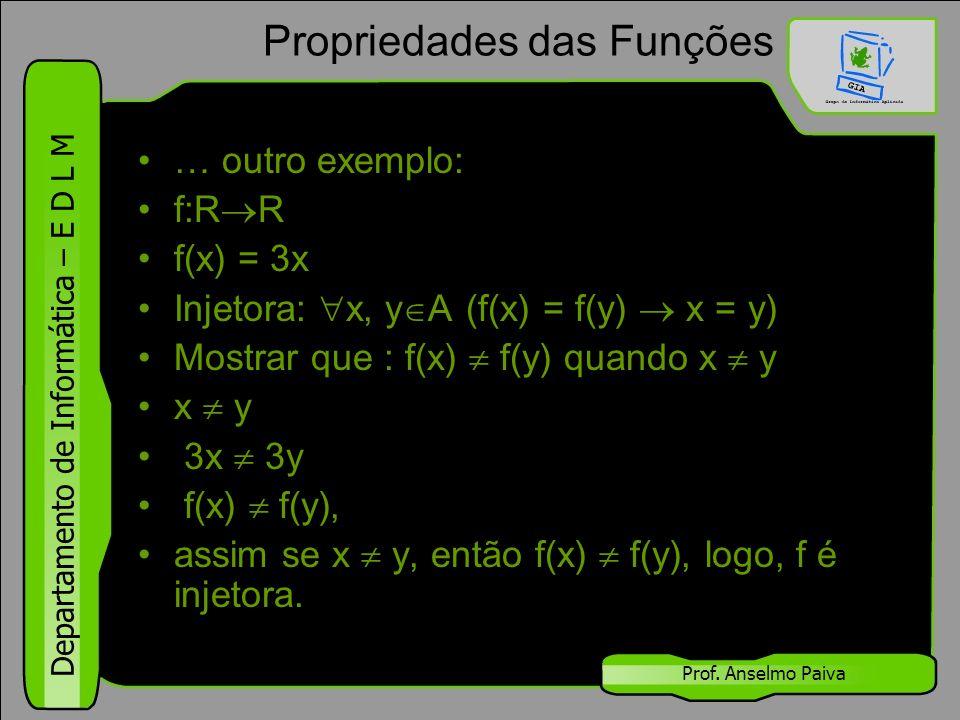 Departamento de Informática – E D L M Prof. Anselmo Paiva Propriedades das Funções … outro exemplo: f:R  R f(x) = 3x Injetora:  x, y  A (f(x) = f(y