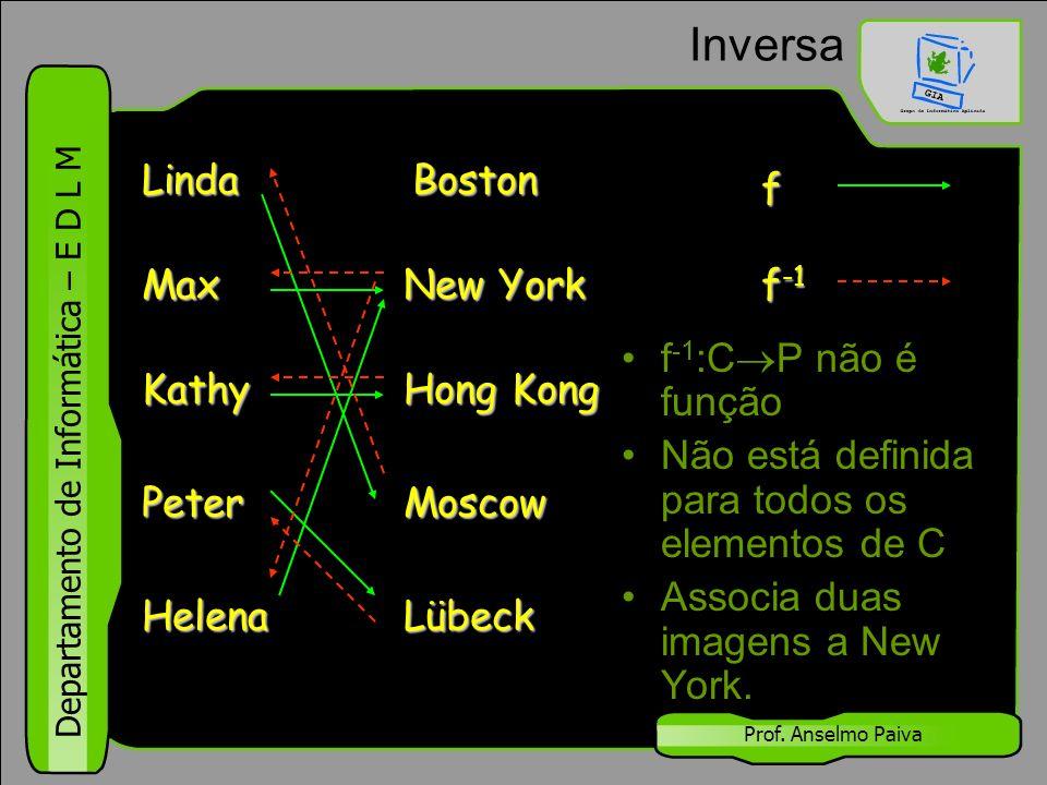 Departamento de Informática – E D L M Prof. Anselmo Paiva Inversa f -1 :C  P não é função Não está definida para todos os elementos de C Associa duas