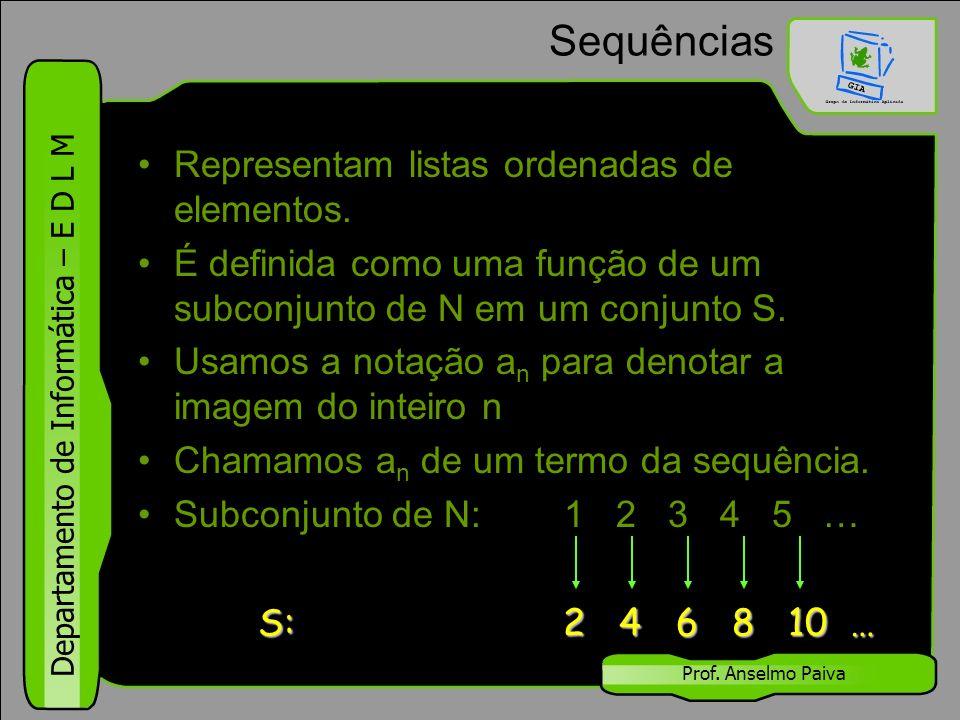 Departamento de Informática – E D L M Prof. Anselmo Paiva Sequências Representam listas ordenadas de elementos. É definida como uma função de um subco