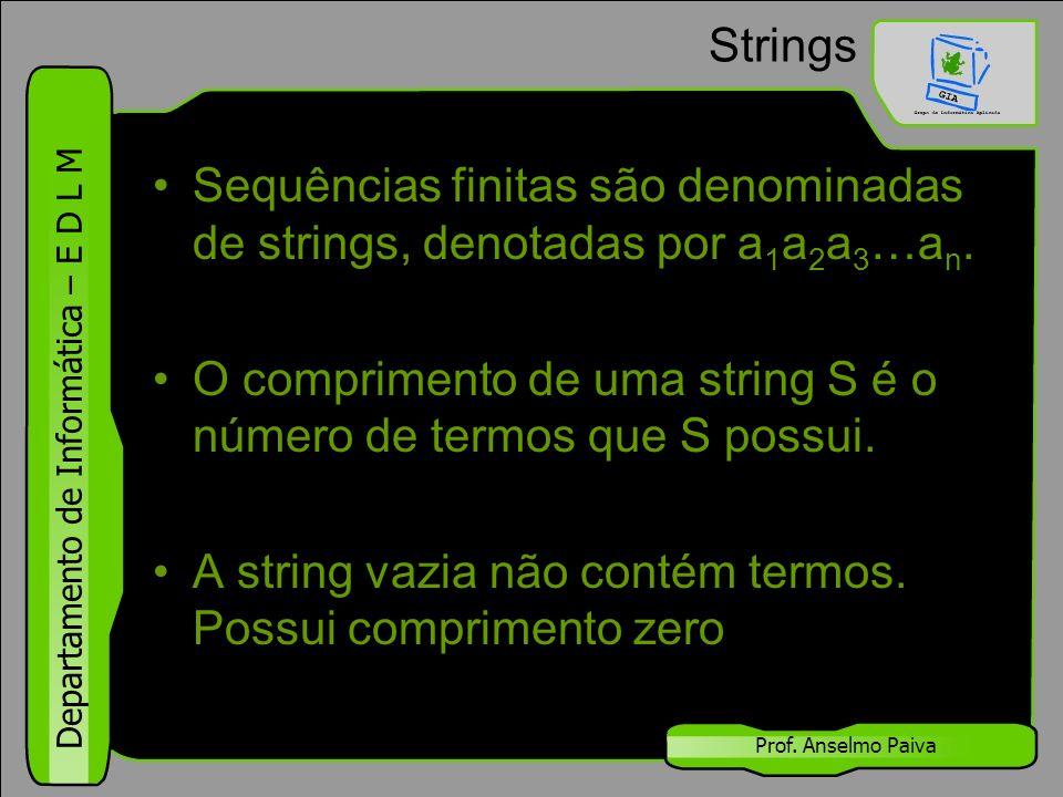 Departamento de Informática – E D L M Prof. Anselmo Paiva Strings Sequências finitas são denominadas de strings, denotadas por a 1 a 2 a 3 …a n. O com