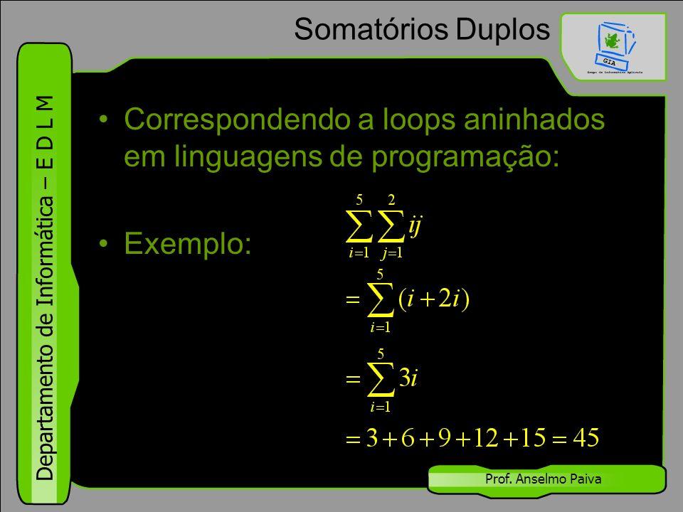 Departamento de Informática – E D L M Prof. Anselmo Paiva Somatórios Duplos Correspondendo a loops aninhados em linguagens de programação: Exemplo:
