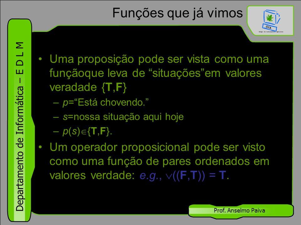 """Departamento de Informática – E D L M Prof. Anselmo Paiva Funções que já vimos Uma proposição pode ser vista como uma funçãoque leva de """"situações""""em"""