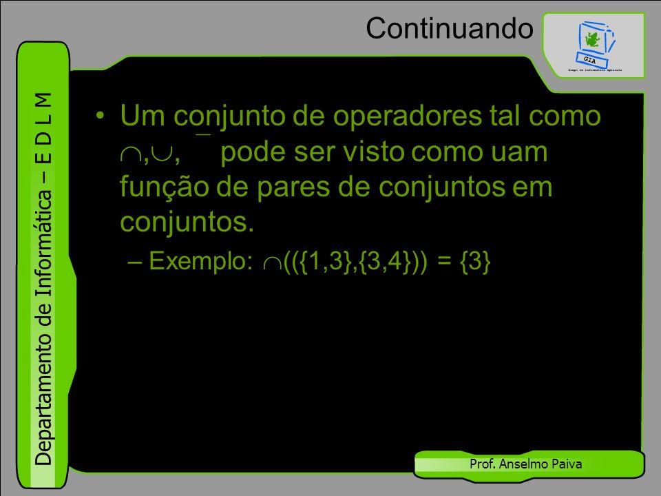 Departamento de Informática – E D L M Prof. Anselmo Paiva Continuando Um conjunto de operadores tal como , ,  pode ser visto como uam função de par