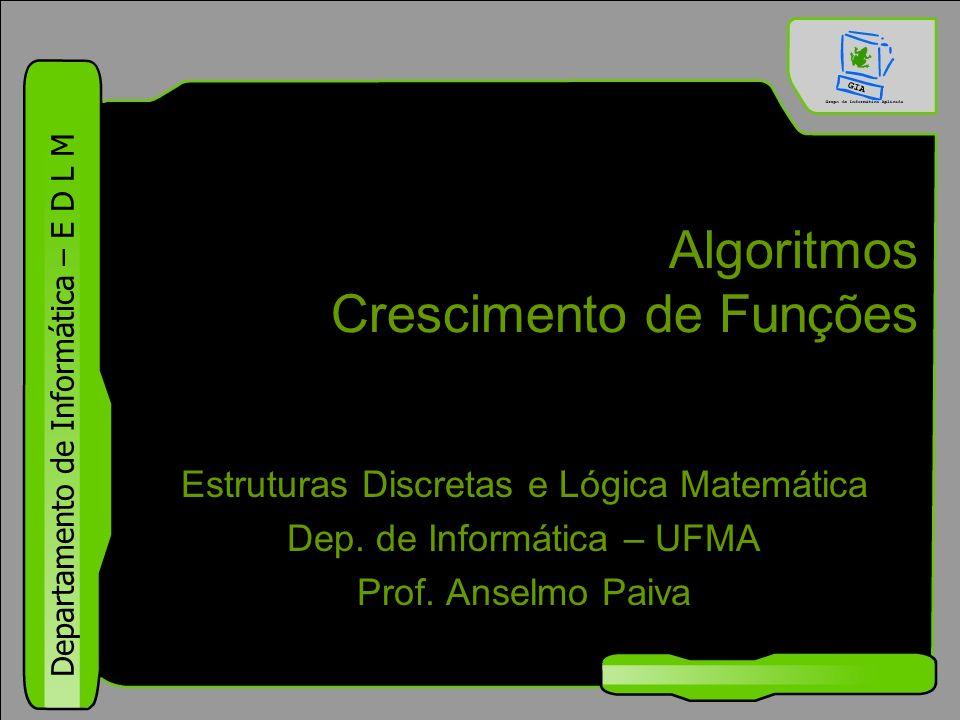 Departamento de Informática – E D L M Algoritmos Crescimento de Funções Estruturas Discretas e Lógica Matemática Dep. de Informática – UFMA Prof. Anse