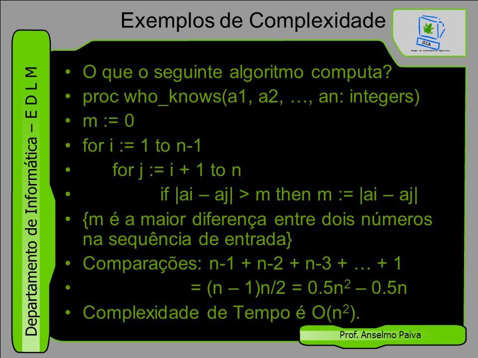 Departamento de Informática – E D L M Prof. Anselmo Paiva Exemplos de Complexidade O que o seguinte algoritmo computa? proc who_knows(a1, a2, …, an: i