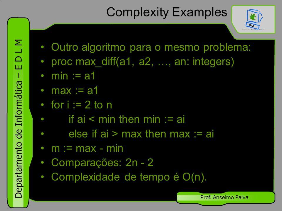 Departamento de Informática – E D L M Prof. Anselmo Paiva Complexity Examples Outro algoritmo para o mesmo problema: proc max_diff(a1, a2, …, an: inte