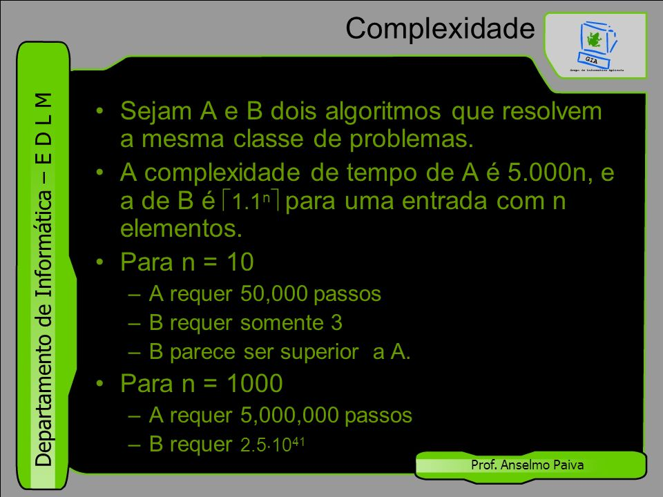 Departamento de Informática – E D L M Prof. Anselmo Paiva Complexidade Sejam A e B dois algoritmos que resolvem a mesma classe de problemas. A complex