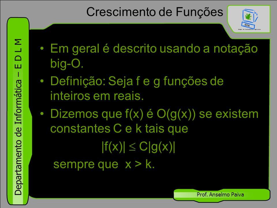 Departamento de Informática – E D L M Prof. Anselmo Paiva Crescimento de Funções Em geral é descrito usando a notação big-O. Definição: Seja f e g fun