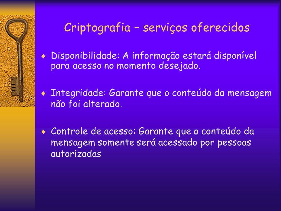 Criptografia – serviços oferecidos  Disponibilidade: A informação estará disponível para acesso no momento desejado.