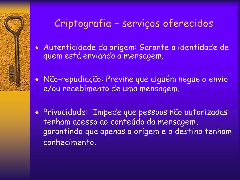 Criptografia – serviços oferecidos  Autenticidade da origem: Garante a identidade de quem está enviando a mensagem.