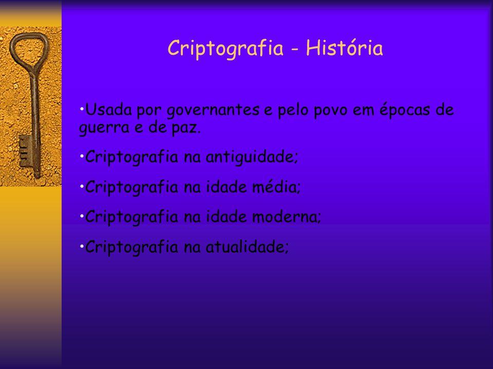 Criptografia - História Usada por governantes e pelo povo em épocas de guerra e de paz.