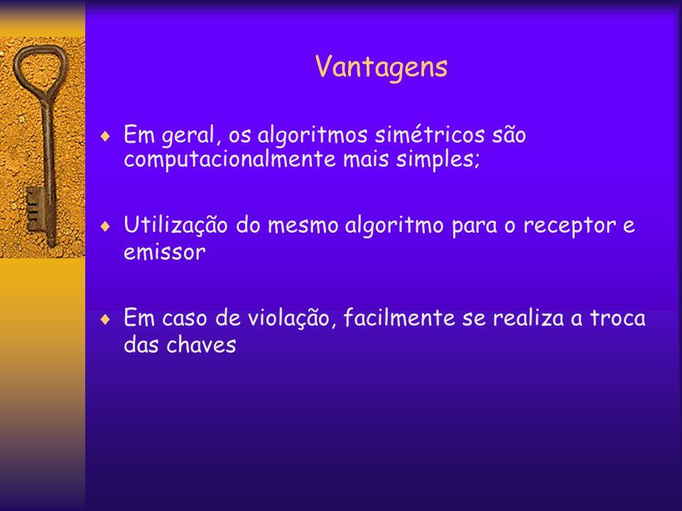 Vantagens  Em geral, os algoritmos simétricos são computacionalmente mais simples;  Utilização do mesmo algoritmo para o receptor e emissor  Em caso de violação, facilmente se realiza a troca das chaves