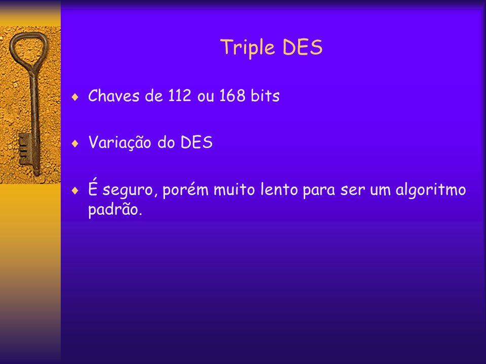 Triple DES  Chaves de 112 ou 168 bits  Variação do DES  É seguro, porém muito lento para ser um algoritmo padrão.