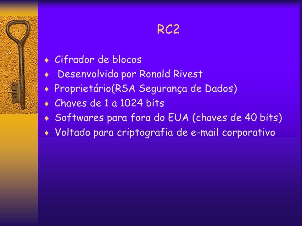 RC2  Cifrador de blocos  Desenvolvido por Ronald Rivest  Proprietário(RSA Segurança de Dados)  Chaves de 1 a 1024 bits  Softwares para fora do EUA (chaves de 40 bits)  Voltado para criptografia de e-mail corporativo