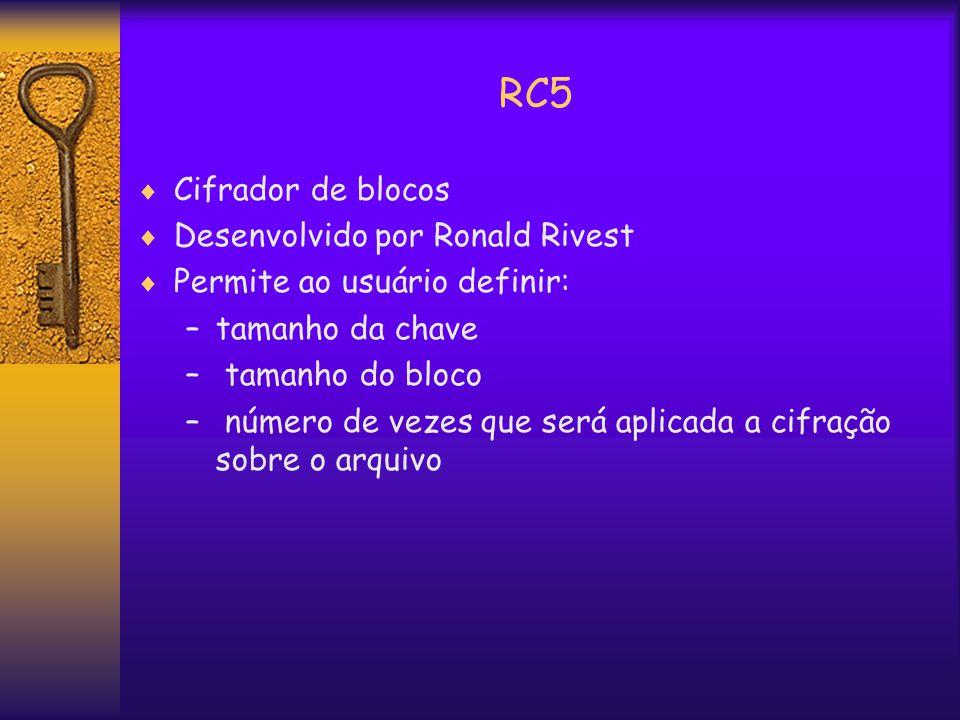 RC5  Cifrador de blocos  Desenvolvido por Ronald Rivest  Permite ao usuário definir: –tamanho da chave – tamanho do bloco – número de vezes que será aplicada a cifração sobre o arquivo