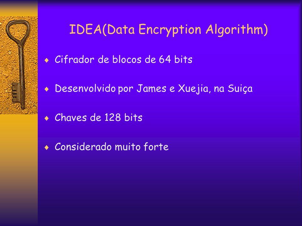 IDEA(Data Encryption Algorithm)  Cifrador de blocos de 64 bits  Desenvolvido por James e Xuejia, na Suiça  Chaves de 128 bits  Considerado muito forte
