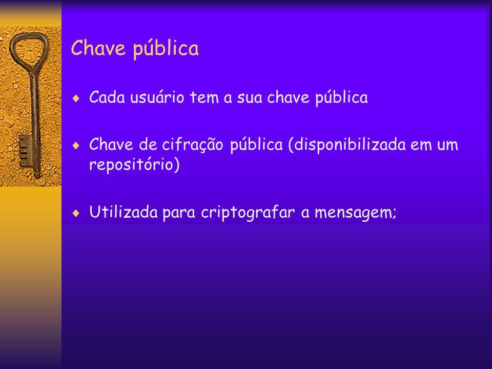 Chave pública  Cada usuário tem a sua chave pública  Chave de cifração pública (disponibilizada em um repositório)  Utilizada para criptografar a mensagem;