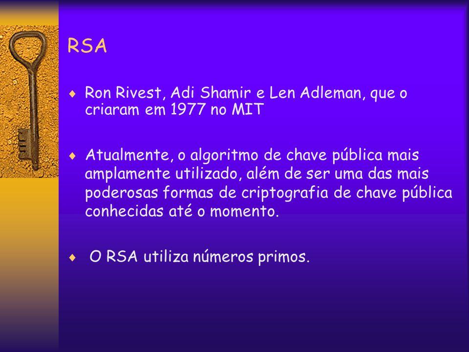 RSA  Ron Rivest, Adi Shamir e Len Adleman, que o criaram em 1977 no MIT  Atualmente, o algoritmo de chave pública mais amplamente utilizado, além de ser uma das mais poderosas formas de criptografia de chave pública conhecidas até o momento.