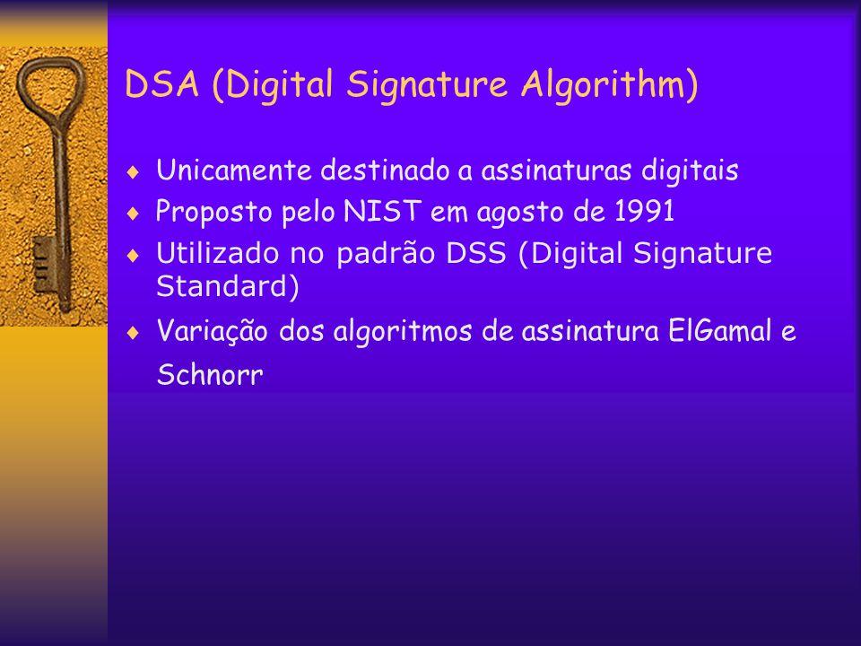 DSA (Digital Signature Algorithm)  Unicamente destinado a assinaturas digitais  Proposto pelo NIST em agosto de 1991  Utilizado no padrão DSS (Digital Signature Standard)  Variação dos algoritmos de assinatura ElGamal e Schnorr
