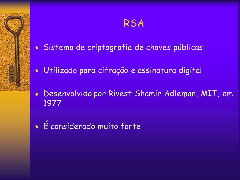 RSA  Sistema de criptografia de chaves públicas  Utilizado para cifração e assinatura digital  Desenvolvido por Rivest-Shamir-Adleman, MIT, em 1977  É considerado muito forte