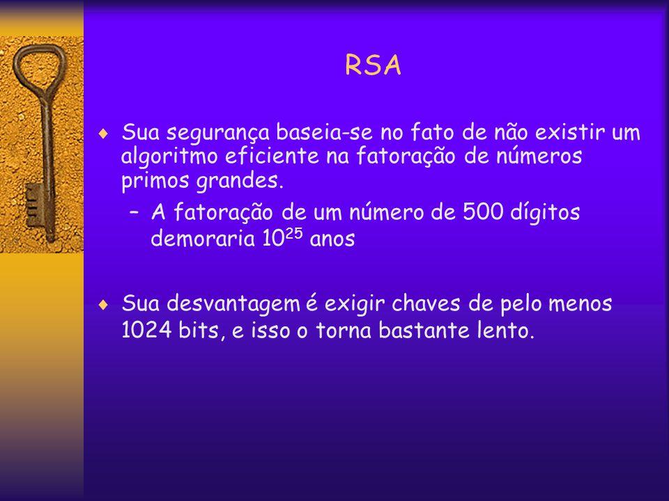 RSA  Sua segurança baseia-se no fato de não existir um algoritmo eficiente na fatoração de números primos grandes.