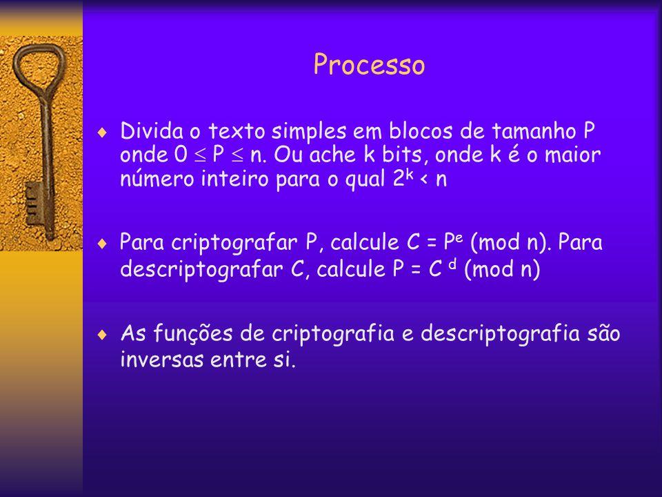 Processo  Divida o texto simples em blocos de tamanho P onde 0  P  n.