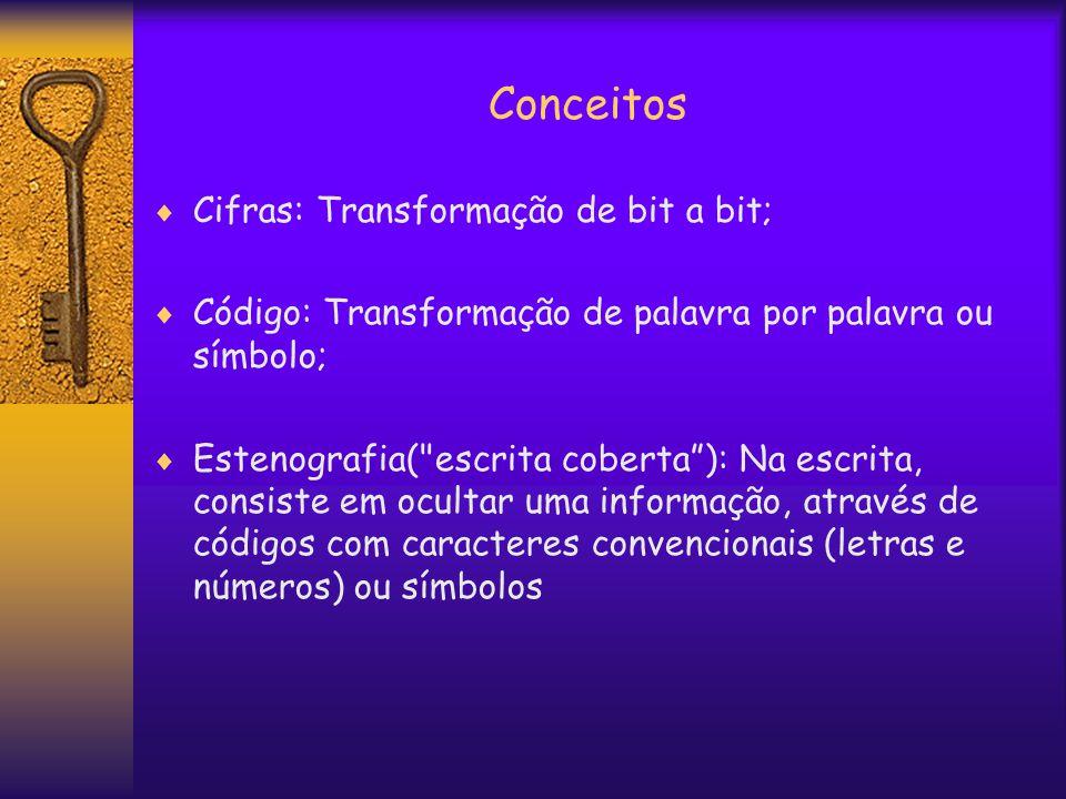 Conceitos  Cifras: Transformação de bit a bit;  Código: Transformação de palavra por palavra ou símbolo;  Estenografia( escrita coberta ): Na escrita, consiste em ocultar uma informação, através de códigos com caracteres convencionais (letras e números) ou símbolos